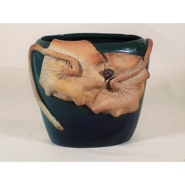 Studio Art Pottery Vase Green Blue Applied Water Lily Hand Thrown - Image 2 of 6