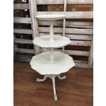 Image of Vintage French Provincial White Pie Crust Table