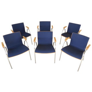 Thonet Chrome & Bent Wood Chairs - Set of 6