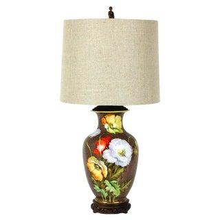 Vintage Porcelain Poppy Nippon Vase Lamp