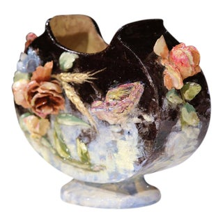 19th Century French Hand Painted Barbotine Jardiniere With Flowers & Bird