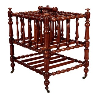 English 19th Century Mahogany Bobbin Turned Canterbury on Casters