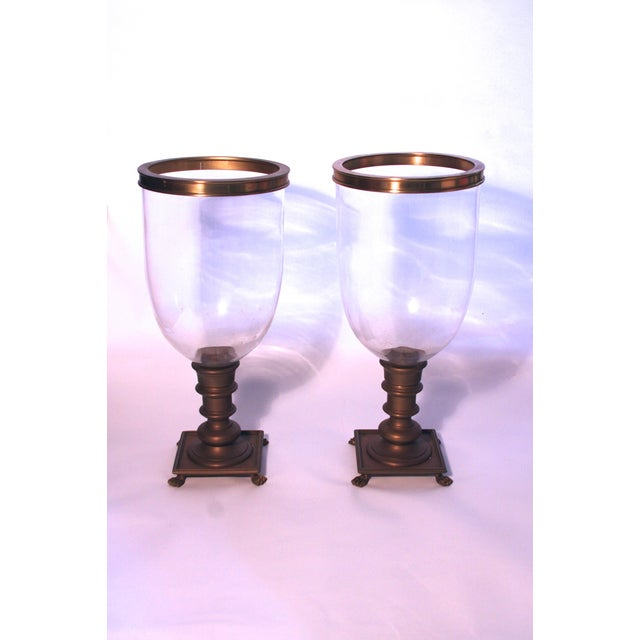 Image of Glass and Brass Footed Hurricanes - A Pair