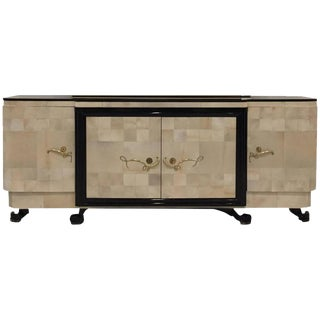"""French Art Deco Parchment Buffet with Ebony Marble Top and """"Portor"""" Legs"""