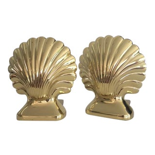 Vintage Mid-Century Brass Clam Shell Bookends- A Pair