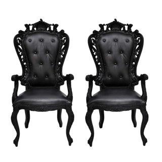 Black Louis XV Style Armchairs - A Pair