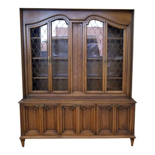 1960s Romweber Provincial Style Faux Wood & Veneer China Cabinet
