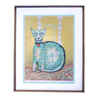 Signed Blue Cat Lithograph