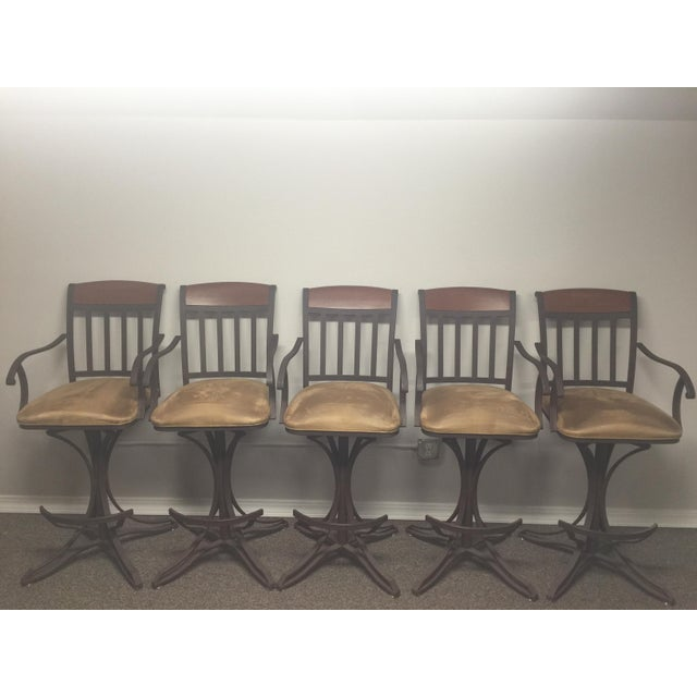 Custom Suede Bar Stools - Set of 5 - Image 5 of 5