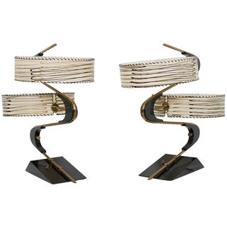 1950s Lamps with Double Fiberglass Shades - A Pair