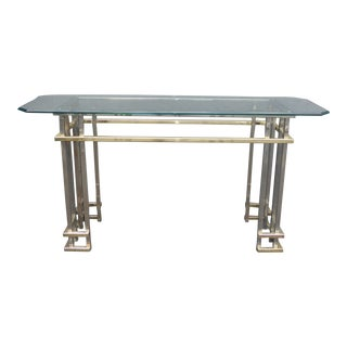 Vintage Mid-Century Contemporary Chrome Console Table, Style of Guy Lefevre