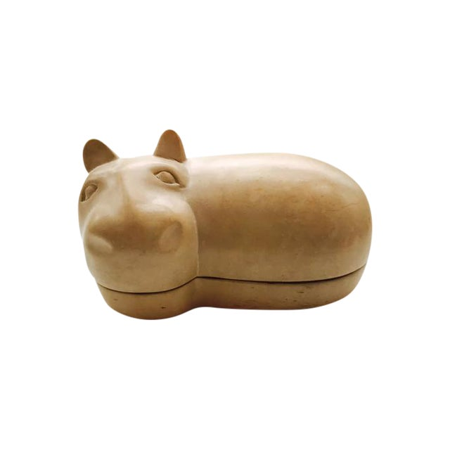 Image of Vintage African Soapstone Carved Hippopotamus Dish