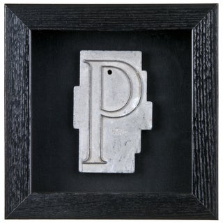 Framed Mid Century Spacerite Steel Letter P