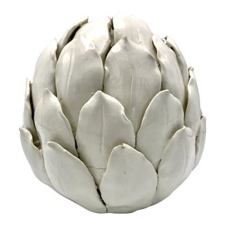 Hand Formed Italian White Glaze Artichoke Pottery Sculpture