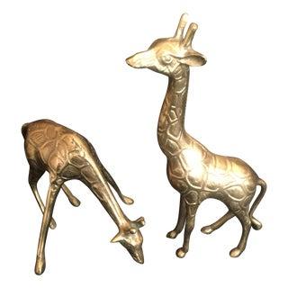 Vintage Brass Giraffes - A  Pair