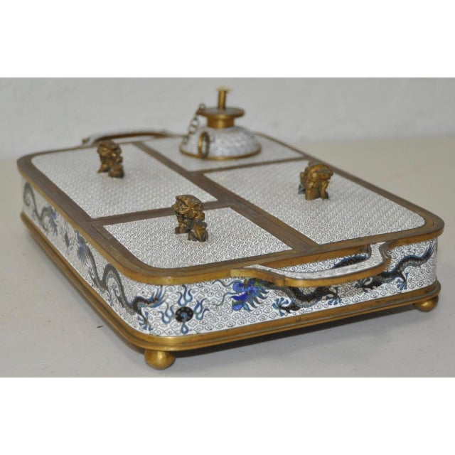 Blue & White Cloisonne Enameled Desk Set - Image 3 of 11