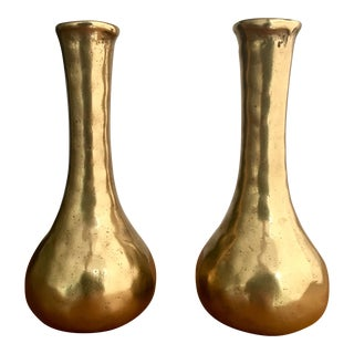 60's Brass Bud Vases, a pair