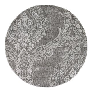 Gray Damask Transitional Rug - 5' Round