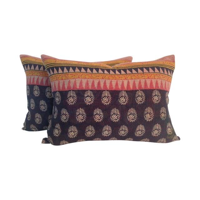 Vintage Block Printed Kantha Quilt Pillows - Pair - Image 1 of 4