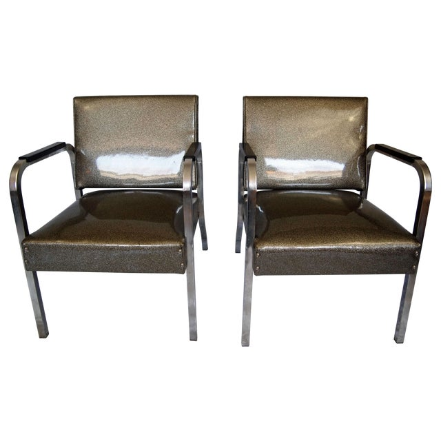 Chrome Chairs With Vinyl Seats - Pair - Image 1 of 5