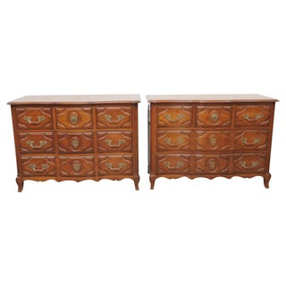Carved Walnut Commodes - A Pair