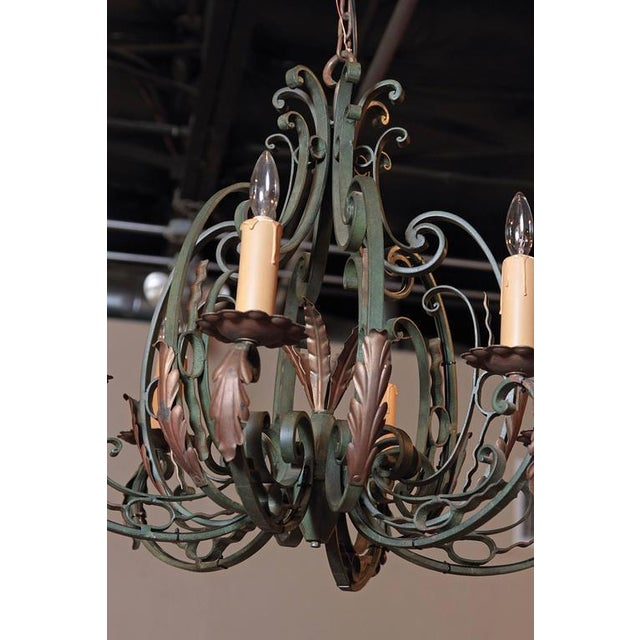 Early 20th Century French Six-Light Iron Chandelier With Verdigris Finish - Image 10 of 10