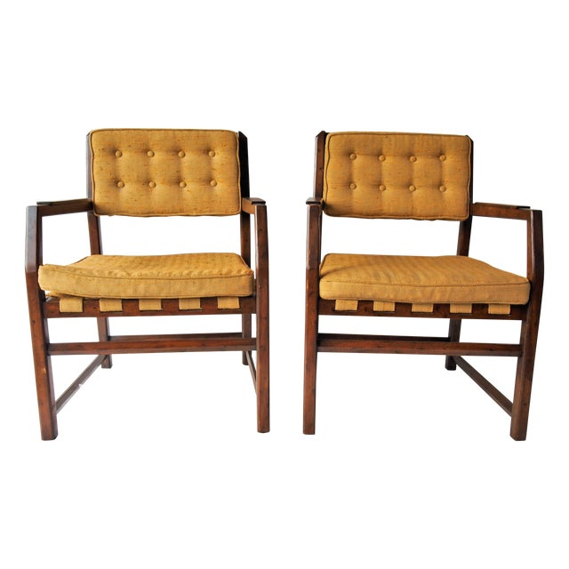 Golden Mid-Century Tufted Chairs - Pair - Image 1 of 6
