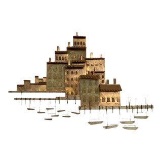 "Curtis Jere ""Village on a Harbor With Small Boats"" Wall Sculpture"