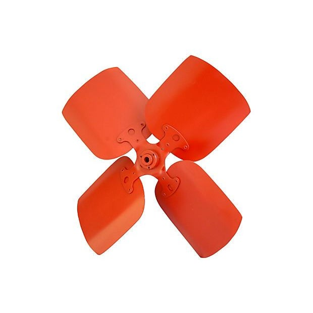 Image of Mid-Century Vibrant Red Metal Propeller Wheel