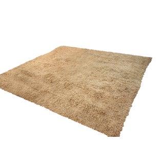 Huge Square Beige Shag Wool Area Rug - 15' x 15'