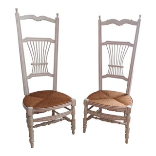 Wood Wicker Rush Seat Boudoir Dressing Room Stocking Chairs - a Pair Wicker Highjack Chair