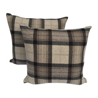 Scottish Wool Plaid Pillows - A Pair