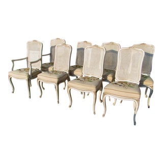 Cane & Needlepoint Dining Chairs - Set of 8