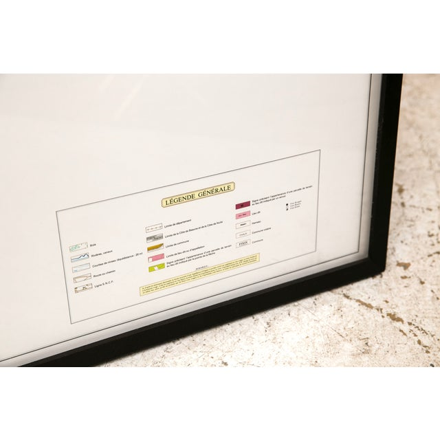 Framed French Topographical Map of Wine Region - Image 5 of 9
