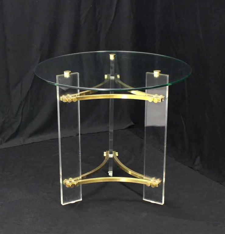 Pair Of Round Glass Brass And Lucite End Tables   Image 4 Of 9