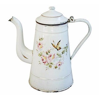Early French Hand Painted Enamelware Coffeepot