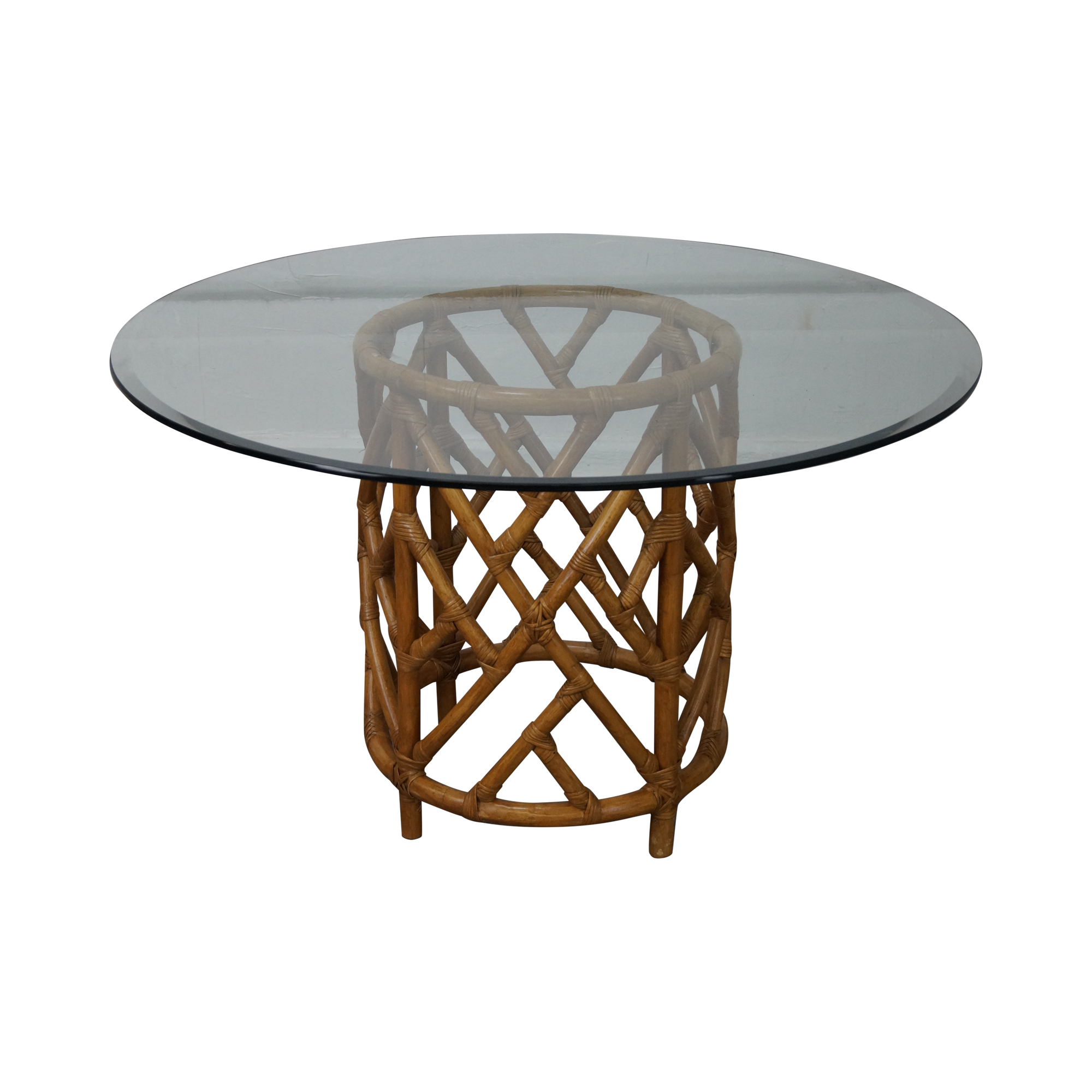 Round Glass Top Rattan Base Dining Table Chairish : d8f50bd6 8ce3 4ab1 80cb bc75433780beaspectfitampwidth640ampheight640 from www.chairish.com size 640 x 640 jpeg 27kB