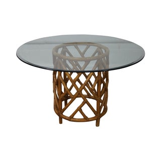 Round Glass Top Rattan Base Dining Table