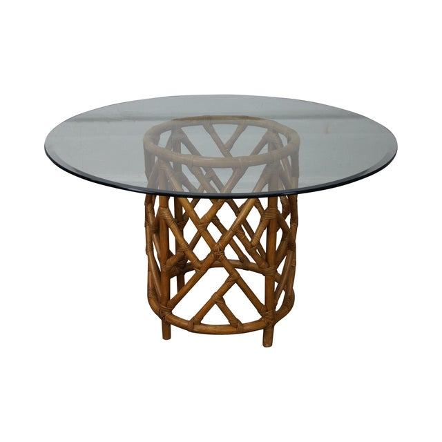 Round glass top rattan base dining table chairish for Glass top dining table next