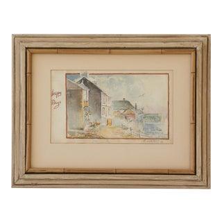 1952 Original English Watercolor Painting, Coastal Village