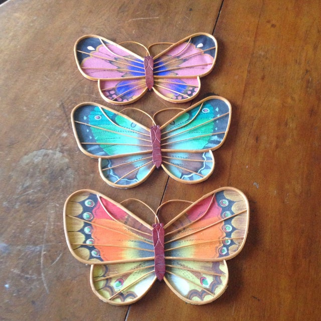 Vintage Rattan & Fabric Butterfly Wall Art - Set of 3 - Image 2 of 11