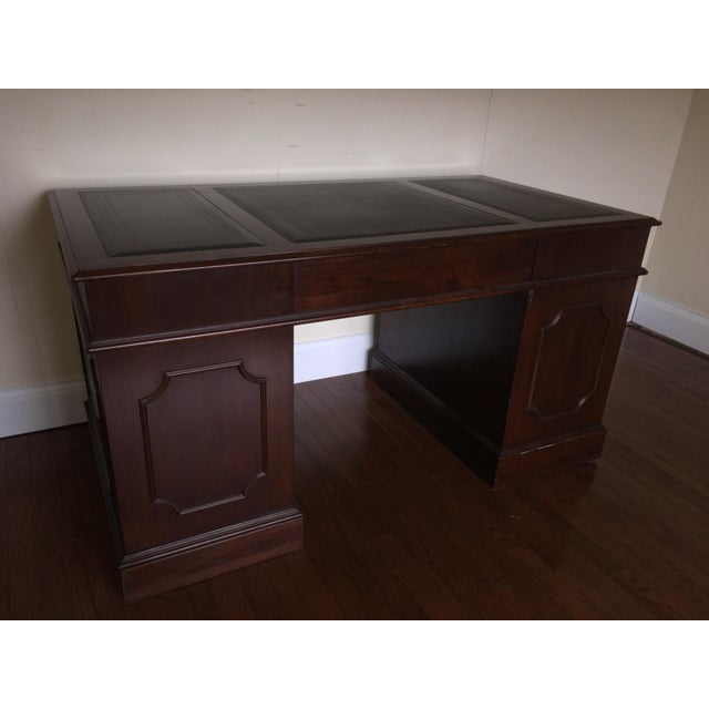 Ethan Allen Henry Coffee Table With Drawers: Vintage Ethan Allen Leather Top Executive Desk