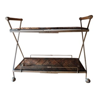 Rare Wrought Iron Wood and Glass X-frame Bar Cart by Cleo Baldon for Terra