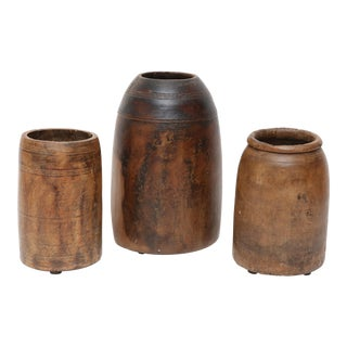 Antique Organic Modern African Hand Carved Wood Jar/Vase - Set of 3