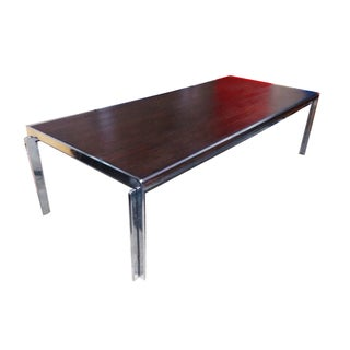 Stow Davis Vintage Wood & Chrome Coffee Table