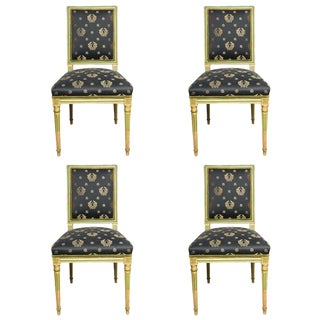Set of Four Painted Louis XVI style Chairs by Jansen