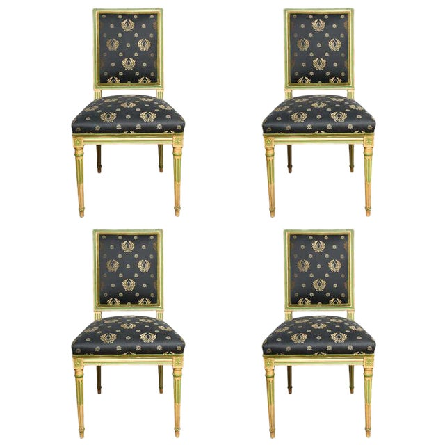 Set of Four Painted Louis XVI style Chairs by Jansen - Image 1 of 10