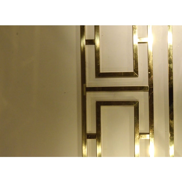 Hollywood Glam Greek Key Themed Brass King Headboard by Everett of California - Image 6 of 6