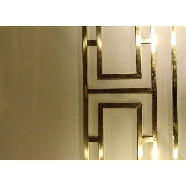 Image of Hollywood Glam Greek Key Themed Brass King Headboard by Everett of California