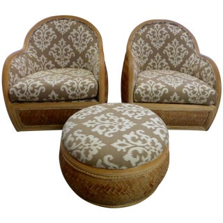 Mid Century Rattan Chairs & Ottoman - A Pair